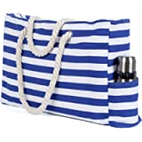 Beach Bag, Large Beach Tote Shoulder Bag with Waterproof Pouch, Zipper and Pocket