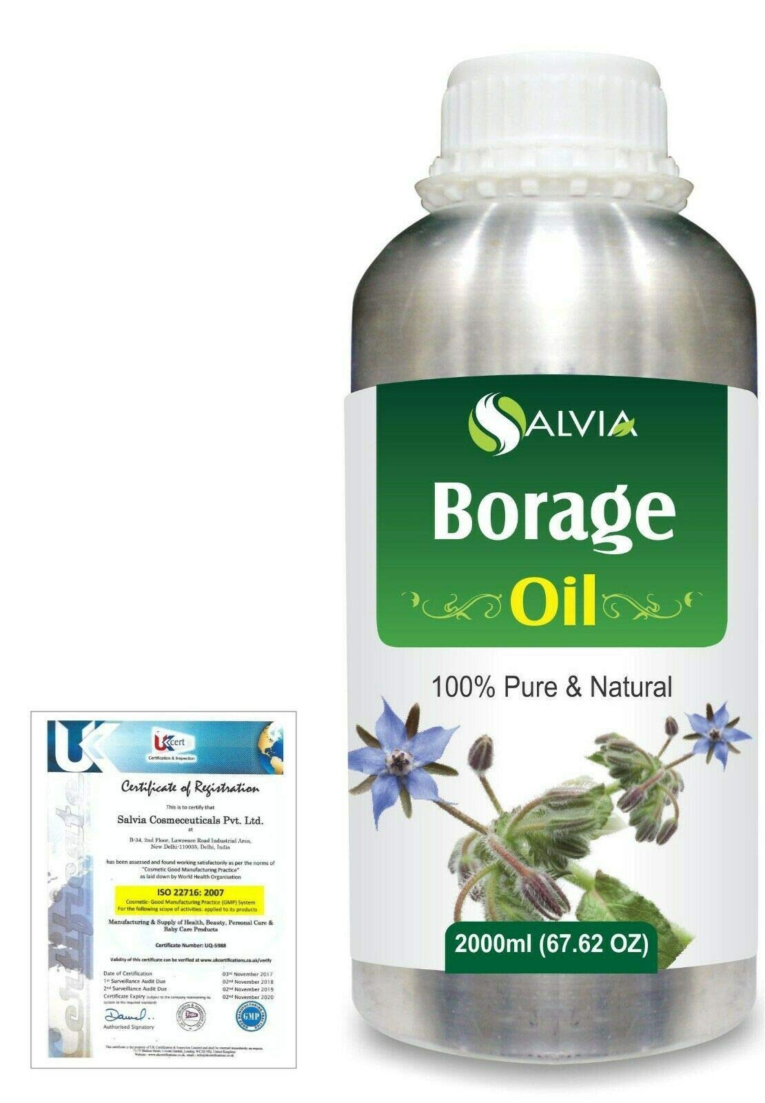 Borage (Borago Officinalis) Pure Natural Aromatherapy Therapeutic Uncut Undiluted Carrier Oil 2000ml/67.6 fl. oz. Express Shipping