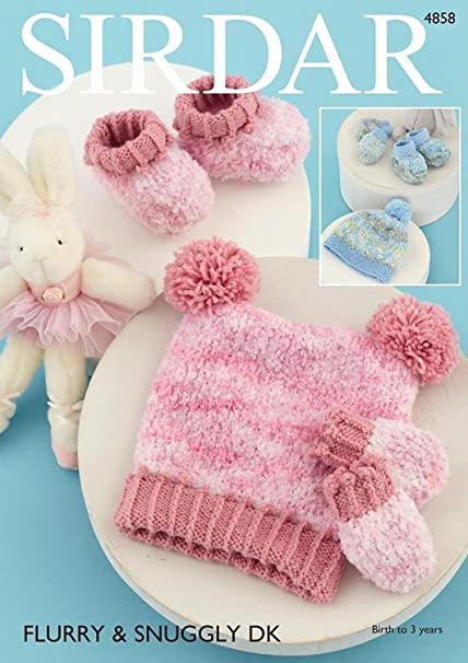 Sirdar 4858 Knitting Pattern Baby Hats Mittens and Bootees in Sirdar Flurry  Chunky  Amazon.co.uk  Kitchen   Home 6744315b342