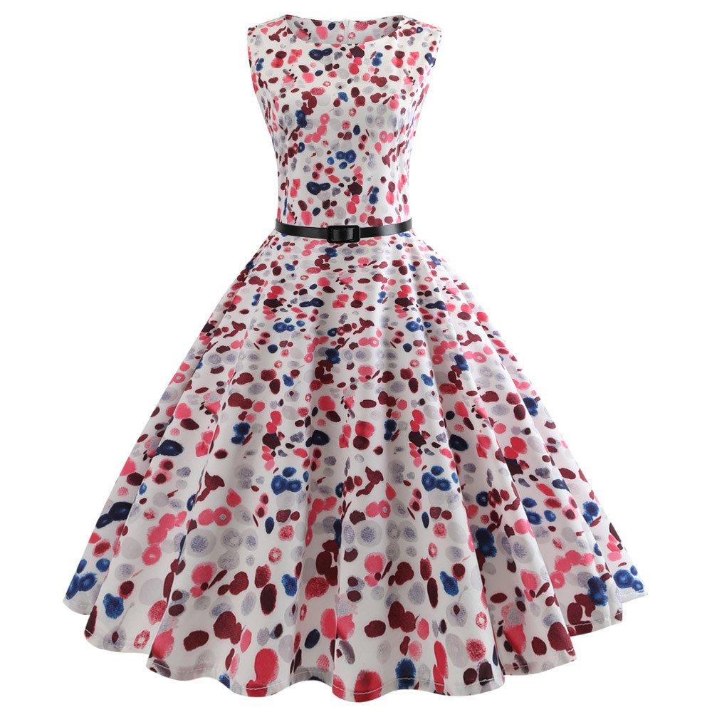 Dragon868 Vestito donna elegante vintage con cintura, taglie forti 2xl Fiori corto abito Mini vestito cerimonia Sera 2018 estate (Nero, L)