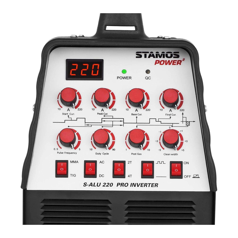 Stamos Welding Soldador De Aluminio WIG AC-DC/MMA Inverter S-ALU 220 PRO (220 A / 60% DC, 8 metros de cable y mangueras, 2/4 tiempos/Función pulso, ...