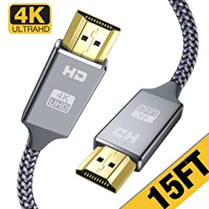 HDMI Cable 15 Ft,Capshi High Speed 18Gbps HDMI 2.0 Cable,4K, 3D, 2160P, 1080P, Ethernet - 28AWG Braided HDMI Cord - Audio Return Compatible TV, PC, Blu-Ray Player