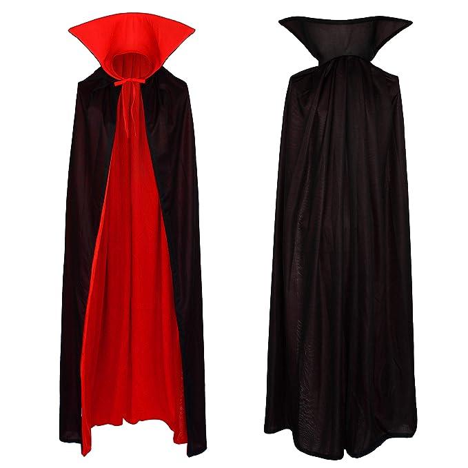 Vampir Umhang Wendeumhang mit Stehkragen Cape schwarz rot 130cm lang Mantel