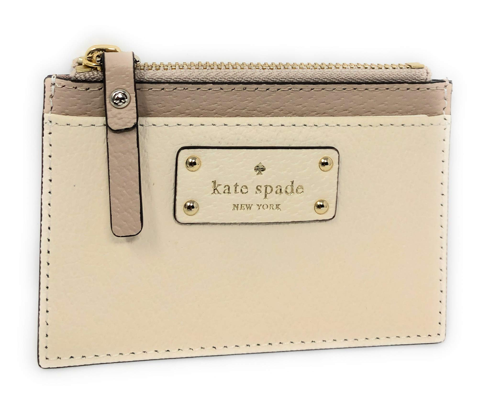 Kate Spade Adi Two Tone Leather ID Card Case Coin Purse, Warm Beige/Cement by Kate Spade New York