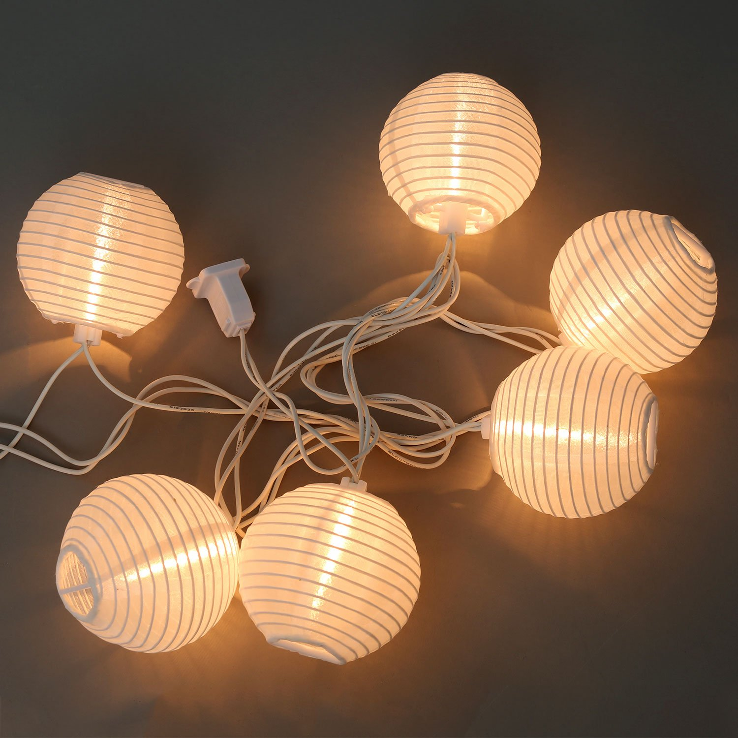 Mini paper lantern string lights - White Outdoor String Light 10 Mini Lanterns 1 Plugin Strand Connectable Water Resistant Indoor Outdoor Use Expandable To 250 Lights Decorative