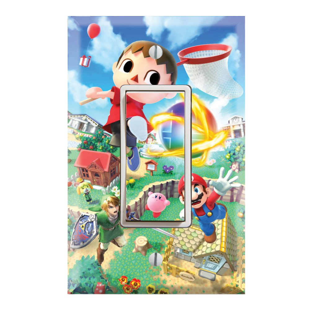 Single Rocker Wall Switch/Outlet Cover Plate Decor Wallplate - Super Smash Bros Mario Animal Crossing Zelda Kirby