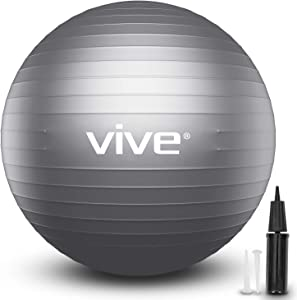 Vive Balance Ball - Yoga Fitness Stability Ball for Exercise Workout - Anti Burst Balancing Desk Chair for Home and Gym Fitness, Birthing, Pilates, Core Fit Training, Physical Therapy - with Pump