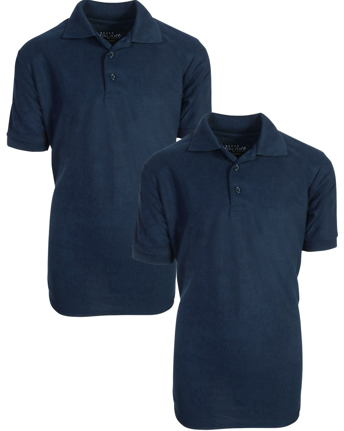 Galaxy by Harvic Boy's Short Sleeve Solid Polo Pique Shirt (2 Pack), Navy/Navy, X-Large'