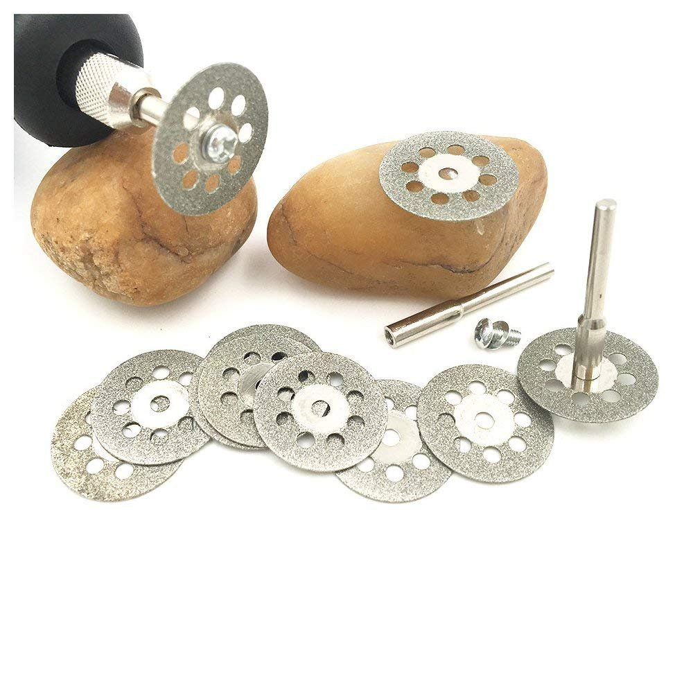 30 Pcs Diamond Cutting Wheel Cut Off Discs Coated Rotary Tools W/Mandrel 22mm for Dremel by Lukcase by Lukcase (Image #6)