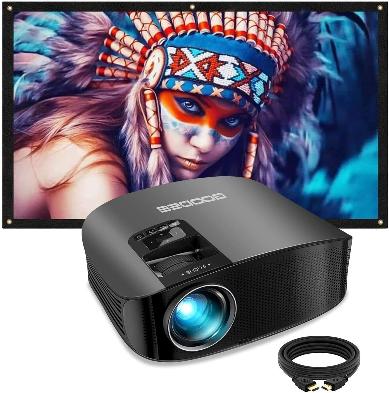 Projector, GooDee 2020 Upgrade HD Video Projector Outdoor Movie Projector with 100 Inch Projector Screen, 4K HD 16: 9 Portable Video Widescreen Movies Screen for Home Theater