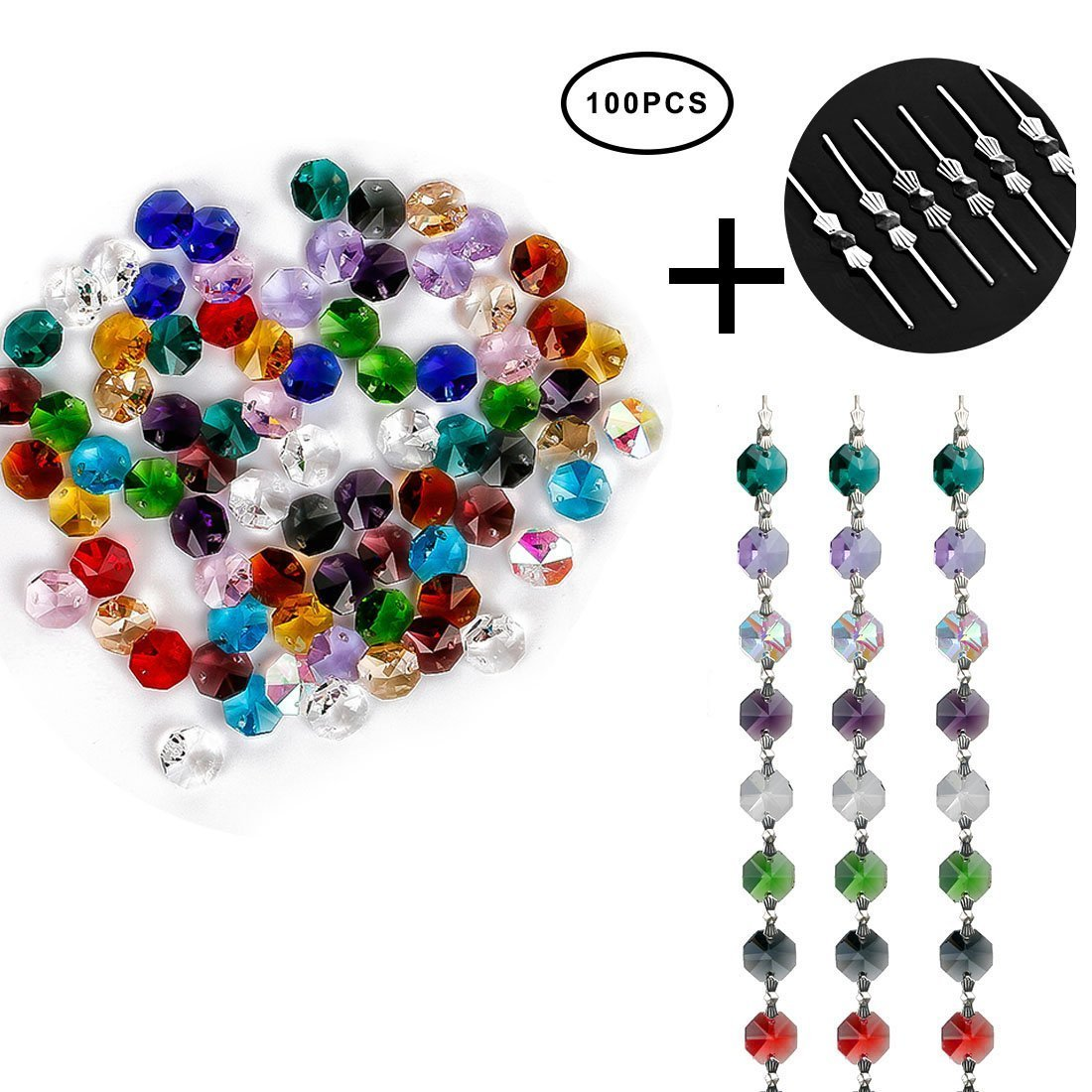H&D 100pcs Multi color Crystal Glass 14mm Octagon Chandelier Beads for Wedding Home Decor