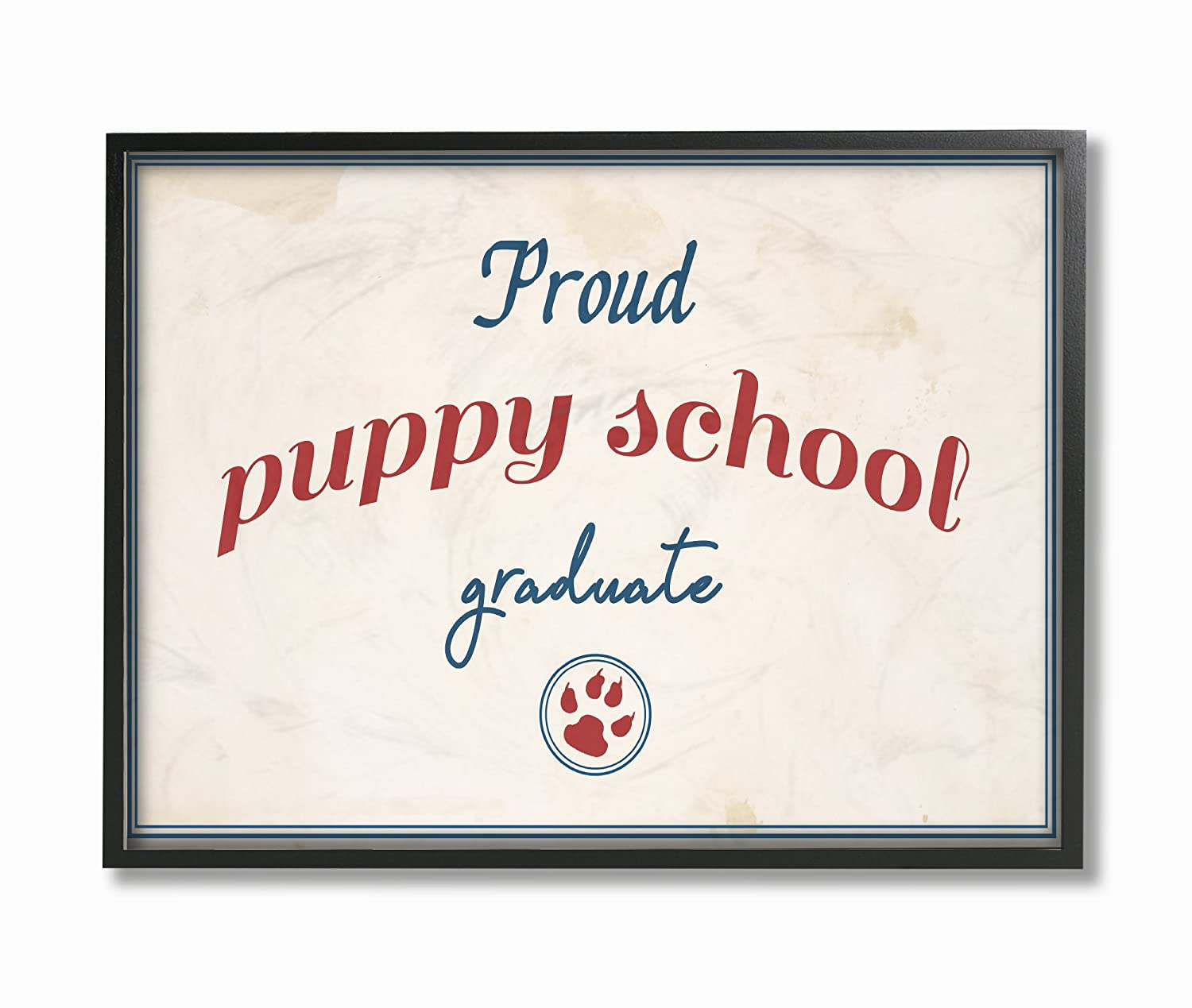Stupell Industries Proud Puppy School Grad Paw Print Wall Plaque Art Proudly Made in USA