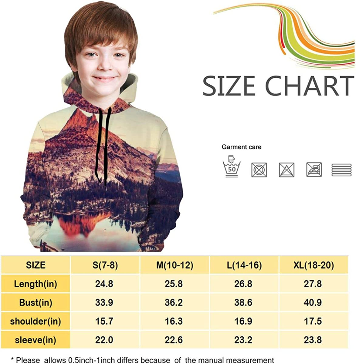 Kjiurhfyheuij Teen Pullover Hoodies with Pocket Beautiful Lake Soft Fleece Hooded Sweatshirt for Youth Teens Kids Boys Girls