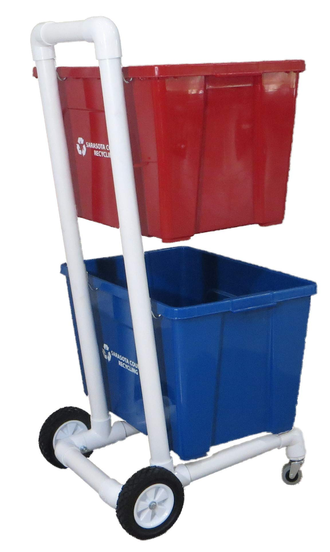Recycling Cart 4 Wheels for Easy Rolling |  | 1-1/2'' PVC | Heavy Duty | Will Not Rust!