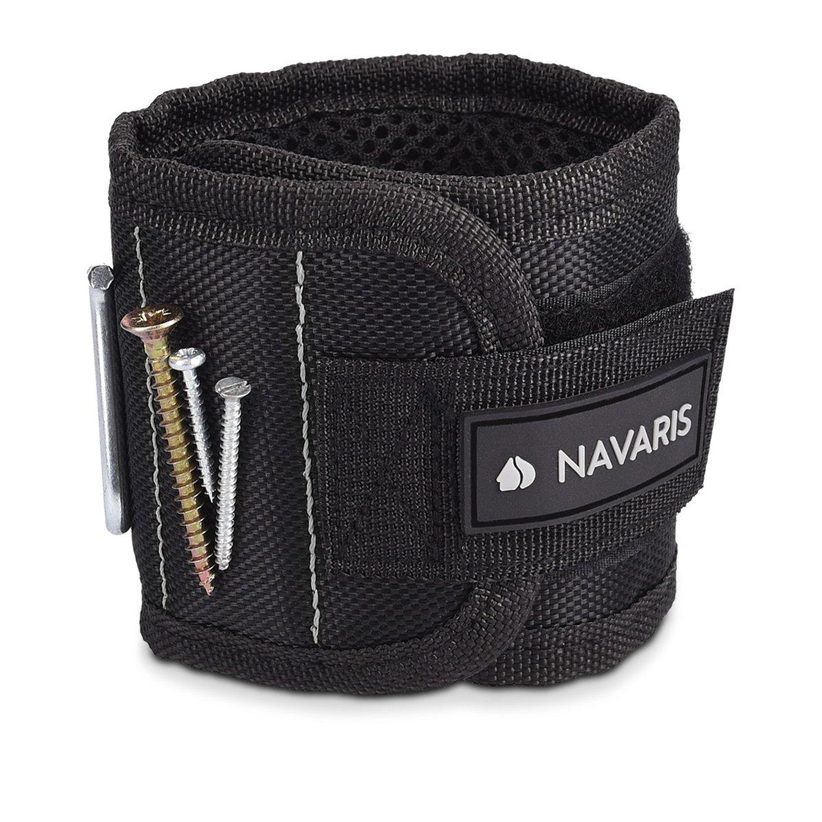 Navaris Magnetic bracelet for metallic items - With 5 strong magnets - Magnetic bracelet for screws nails bits needles - Black gray