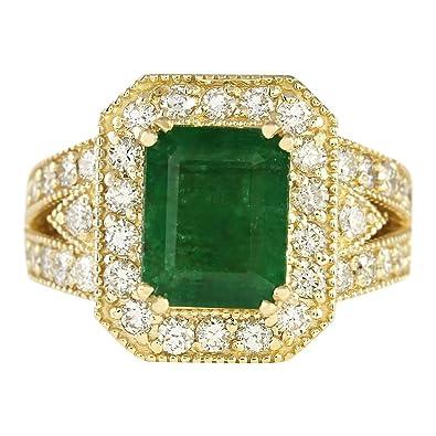 f727903628d3 Anillo de compromiso de oro amarillo de 14 quilates con esmeralda verde  natural y diamante de 4