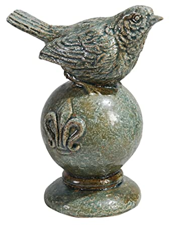 iDecor 69165 Charming Bird Figurine, Antique Blue