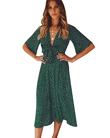 12303f56517ec Amazon.com: SOLERSUN Women's Casual Polka Dot Tie Front V Neck Long ...
