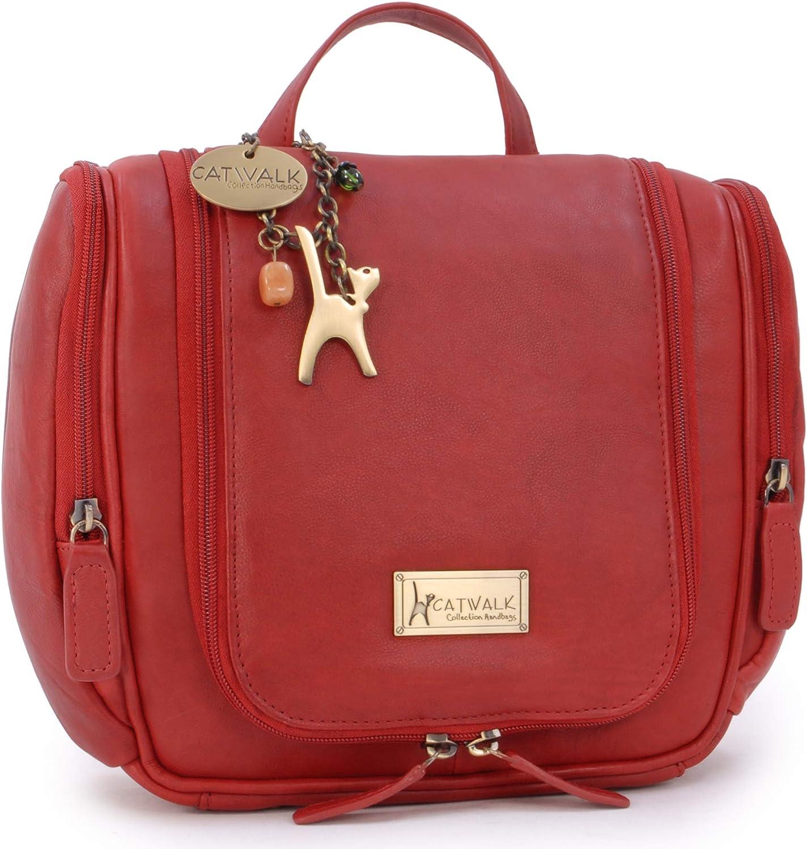 Catwalk Collection - Mujer - Bolsa de Cosméticos para Colgar/Artículos de Aseo/Viaje/Organizador Accesorios - Viajes Vacaciones Viajes de Negocios - Cuero Antiguo - Maisie - Rojo