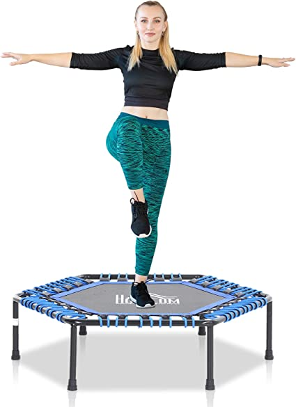 101 x 101 x 33 cm Gartentrampolin Stahl+PP Trampolin f/ür Joga Rot//Blau HOMCOM Fitness-Trampolin
