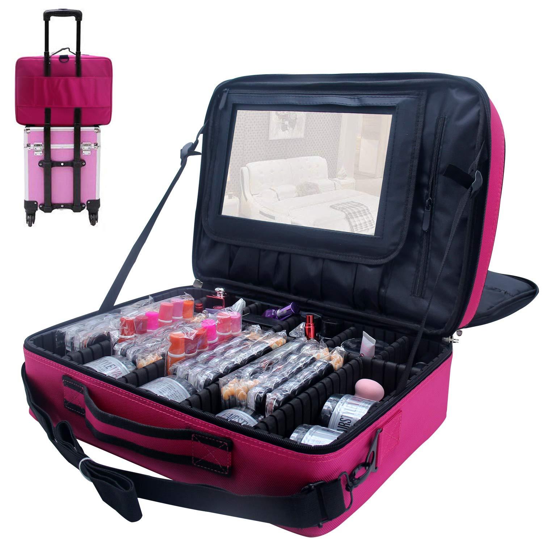 MONSTINA Cosmetic Bag 3 Layer Cosmetic Organizer Beauty Artist Storage Brush Box (XL-Rose Red) by MONSTINA