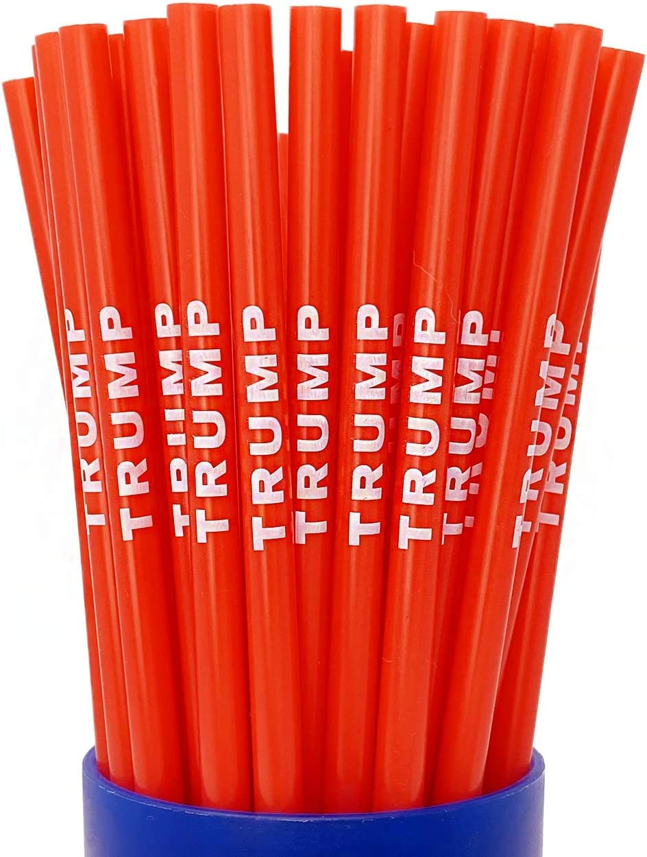 Trump Straws (New Version Straw)- Red and White Reusable Plastic Drinking Straws- Pack of 10