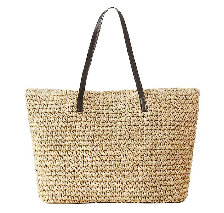 Hoxis Weekender Oversize Beach Straw Rattan Woven Braid Faux Leather Deco Tote Women Shoulder Handbag