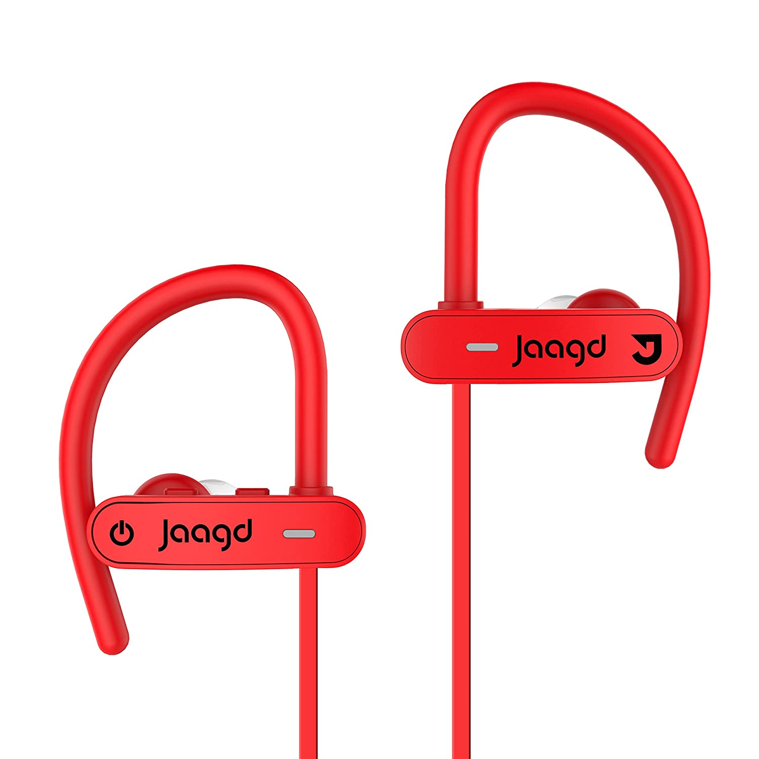 Jaagd Water-Resistant IPX7 Sports Exercise Bluetooth Headphone Earbuds for iPhone X, Samsung Galaxy and More Red