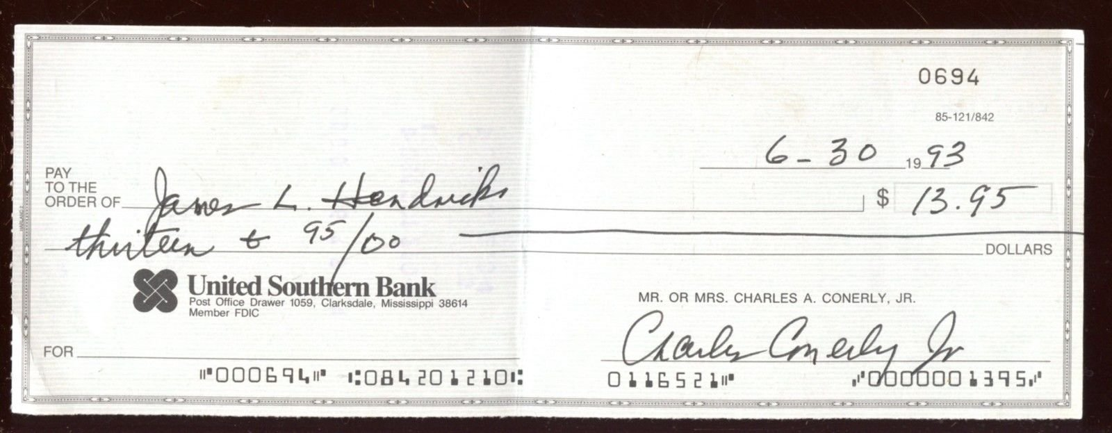 1993 Charley Conerly Signed Personal Check Hologram