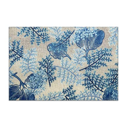 Superb Amazon Com Pogresdx Placemats For Dining Table Blue Petals Download Free Architecture Designs Scobabritishbridgeorg