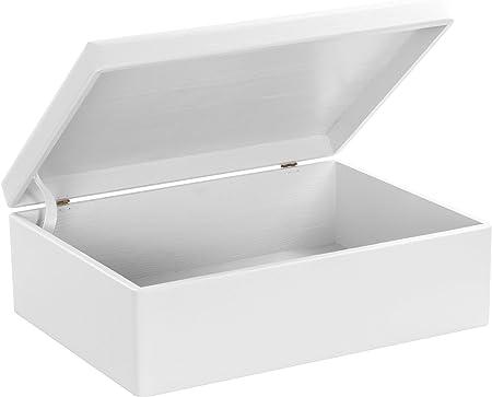 Grinscard Caja de Madera con Tapa para Almacenamiento - Lacado en Blanco Pino - Aproximadamente 40 x 30 x 14 cm XL - Certificado FSC: Amazon.es: Hogar