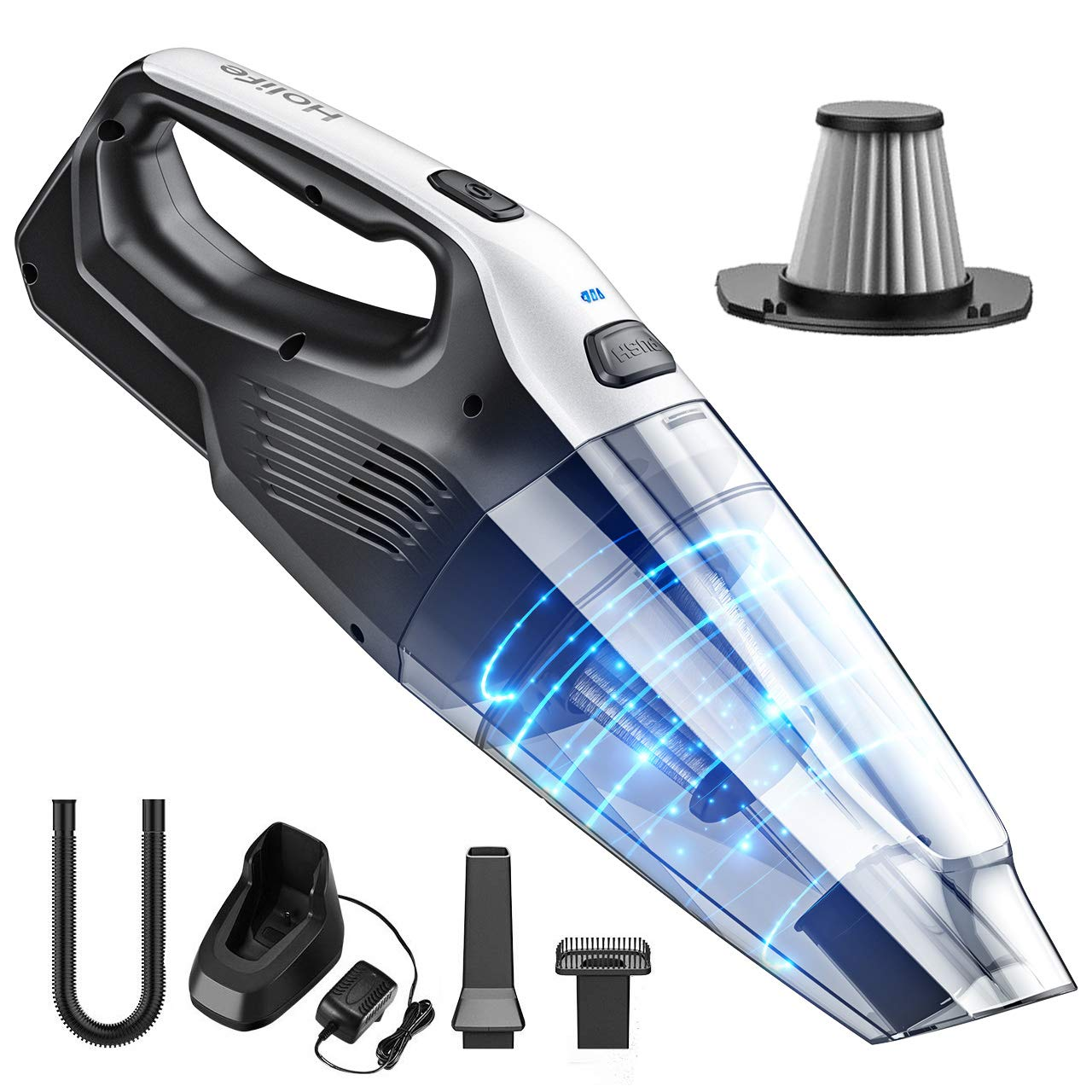 Holife Handheld Cleaner Cordless, 7kpa Portable Hand Vacuum with Replaceable Battery and Stainless Steel Filter Quick Charge Tech for Pet, Hair, Home, Office, Car Cleaning, Middle, Grey