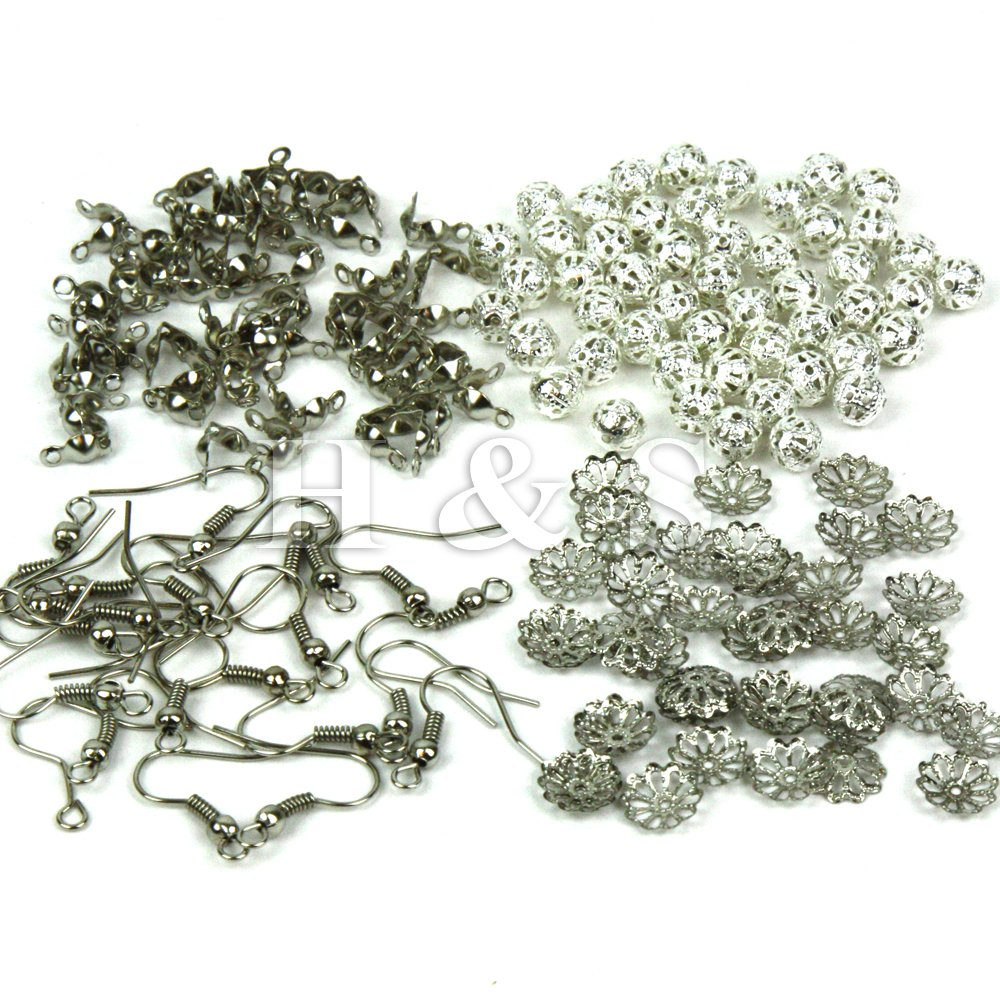 H/&S® Findings Set Large Jewellery Making Kit Pliers Silver Beads Wire...