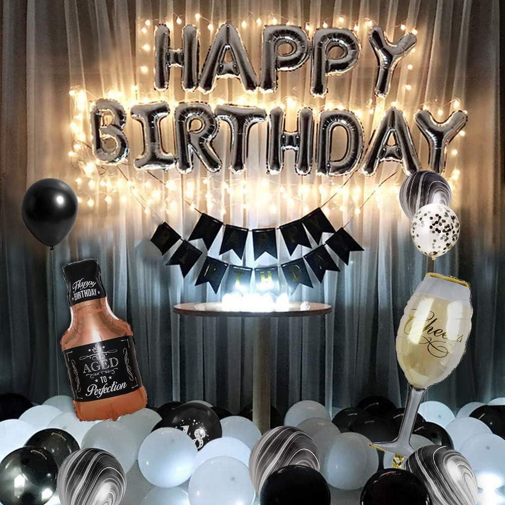 MMTX Decorazioni di Compleanno Nero Bianca Palloncino Compleanno Party Banner con Catena di luci a LED di Topper Torta Champagne Tazza Palloncini per Uomini Adult Compleanno Festa Anniversari