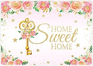 Allenjoy 7x5ft Housewarming Theme Backdrop Home Sweet Home Key Pink Flowers Photography Background for New House Birthday Wedding Bridal Shower Party Decor Banner Photo Studio Booth Props