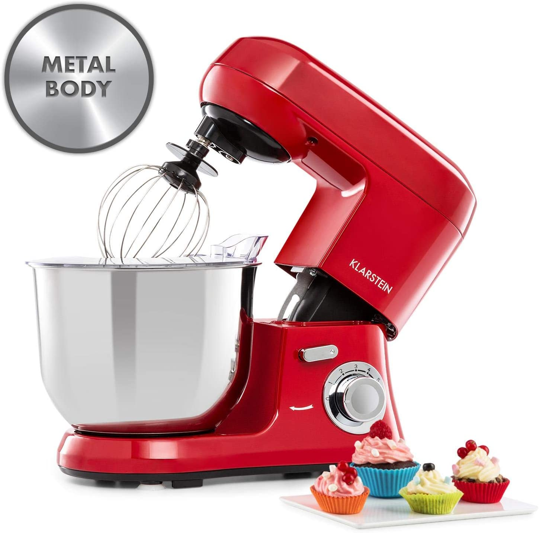 Klarstein Bella Robusta Metal - robot de cocina, carcasa de fundida a presión, cuenco de acero de 5,5 litros, función pulse, 1200 W en 6 niveles, gancho de amasar y remover, varillas, no salpica, rojo