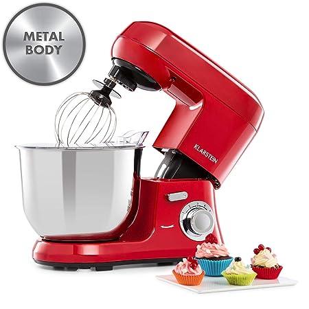 Klarstein Bella Robusta Metal - robot de cocina, carcasa de fundida a presión, cuenco de acero de 5,5 litros, función pulse, 1200 W en 6 niveles, ...
