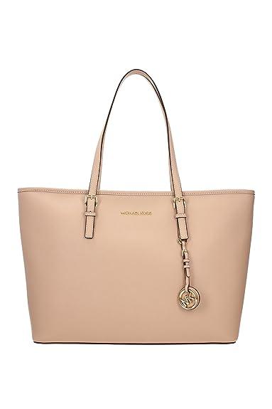 jet set travel saffiano leather top zip tote handbag by michael rh amazon co uk