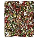 VROSELV Custom Blanket Casino Doodles Style Art Bingo Excitement Checkers King Tambourine Vegas Soft Fleece Throw Blanket