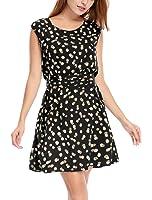 Allegra K Women's Sleeveless Dots Prints Above Knee Chiffon A Line Dress