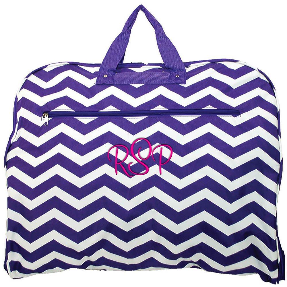 Personalized Purple Chevron Hanging Garment Travel Bag