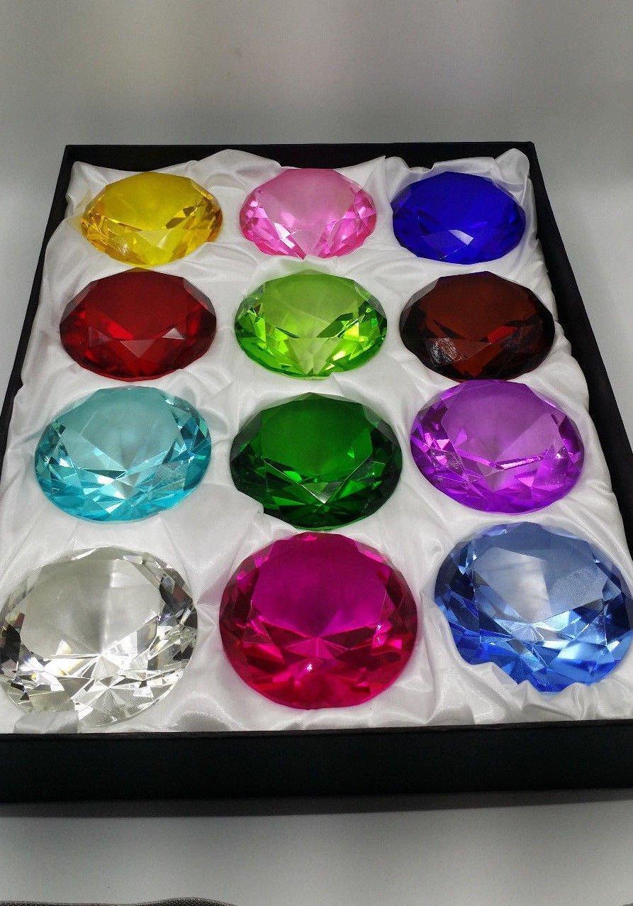Crystal Diamond set 12 Beautiful Birthstones Paperweight by JKK SALE