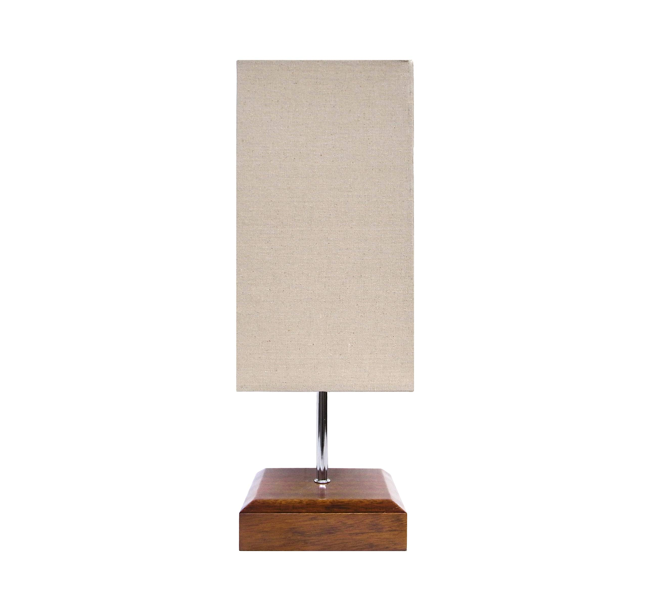 Kanstar 17'' H Mini Sandalwood Living Room Indoor Table Lamp Natural Solid Wood Base (Square)