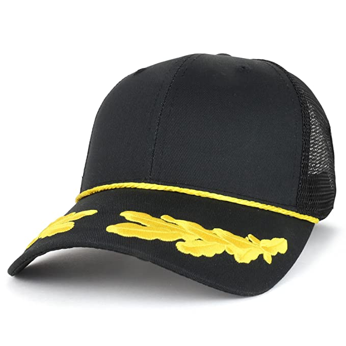 4e4569fc10 Armycrew Captain Oak Leaf Embroidered Trucker Mesh Cap With Yellow Rope -  Black Black