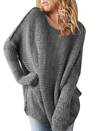 369d6205e3 OMUUTR Damen Pullover Strickpulli Lang Oversize Rundhals Strickpullover  Beiläufig Langarm Drop Ärmels Lose Stricken Sweater Jumper Tops: Amazon.de:  ...