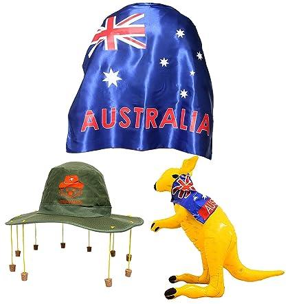 c7d5ae0a AUSTRALIA DAY FANCY DRESS SET LARGE WEARABLE SATIN AUSSIE FLAG CAPE + CORK  HAT WITH KOALA