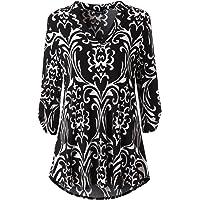 Zattcas Womens Floral Printed Tunic Shirts 3/4 Roll Sleeve Notch Neck Tunic Top