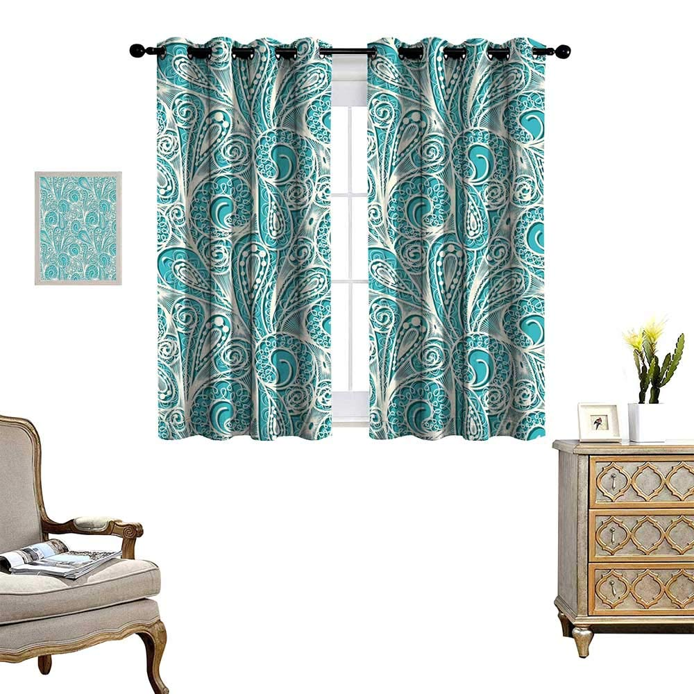 homehot Teal and White Blackout Window Curtain White Lace Style Pattern Feminine Fashion Romantic Composition Print Customized Curtains Turquoise White