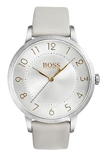 de4a462a1 Hugo Boss Eclipse Womens Quartz Silver Analogue Classic Grey Leather Strap  1502405: Amazon.co.uk: Watches
