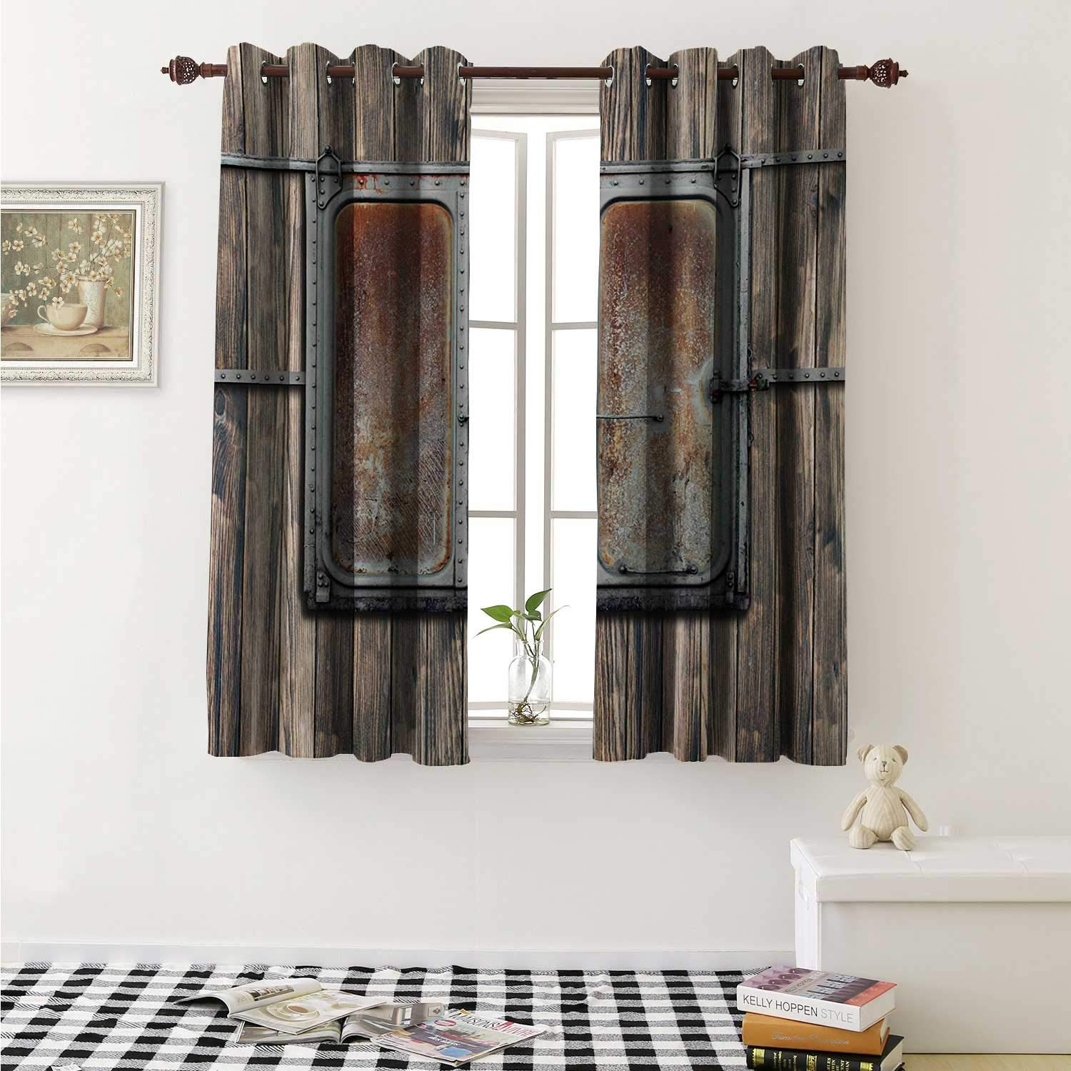 shenglv Rustic Window Curtain Fabric Wooden Tree Planks with Old and Rusty Two Angled Boat Door Image Artwork Print Curtains and Drapes for Living Room W55 x L63 Inch Brown and Grey by shenglv
